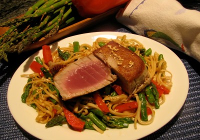 Tuna should barely be cooked, as here, with udon noodles.  E F Wiegand